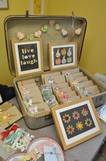 Love the suitcase idea for displaying pretties.xx Thimbleandtwig craft fair. Www.thimbleandtwig.com.  How to set up a craft stall. How to display your craft items. How to sell at a craft fair. Why it's important to stand out from the crowd. Craft stall display ideas. Tips and tricks for running your own craft business. Craft Kits. Vintage design.
