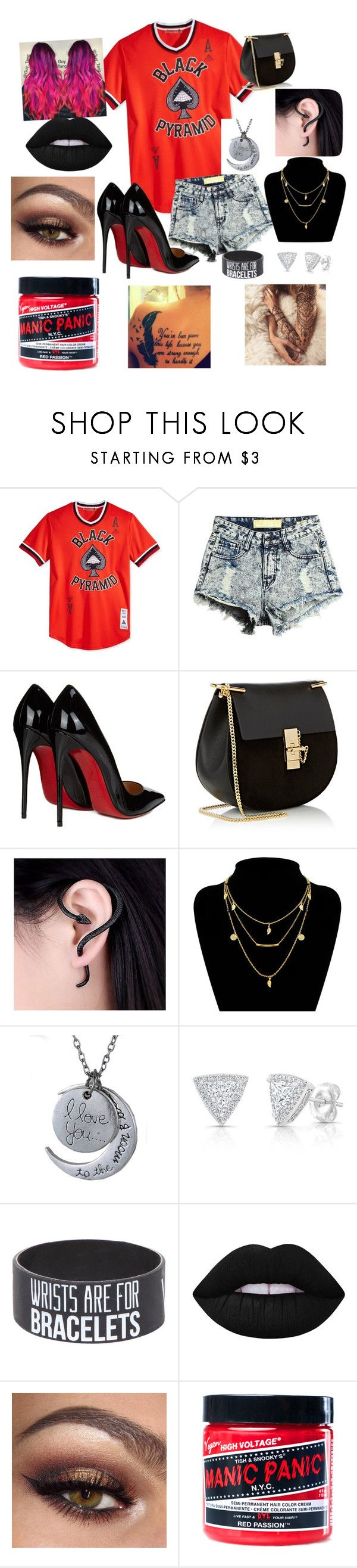 """I love chris browns black pyramid clothing line"" by wwenaenae on Polyvore featuring Black Pyramid, Christian Louboutin, Chloé, Lime Crime and Manic Panic NYC"
