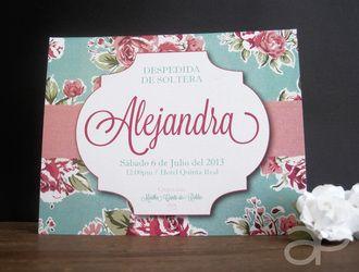 Invitación Vintage con Flores Aqua y Rosa para Despedida de Soltera  www.alepineda.com