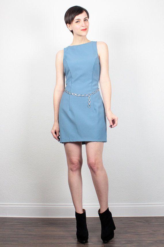 Vintage 90s Dress Blue Mini Dress Belly CHAIN Belt 1990s Dress Club Kid Dress Sheath Dress Soft Grunge Dress Hipster Mod S Small M Medium by ShopTwitchVintage #1990s #90s #mini #soft #grunge #bodycon #chain #belt #dress #etsy #vintage