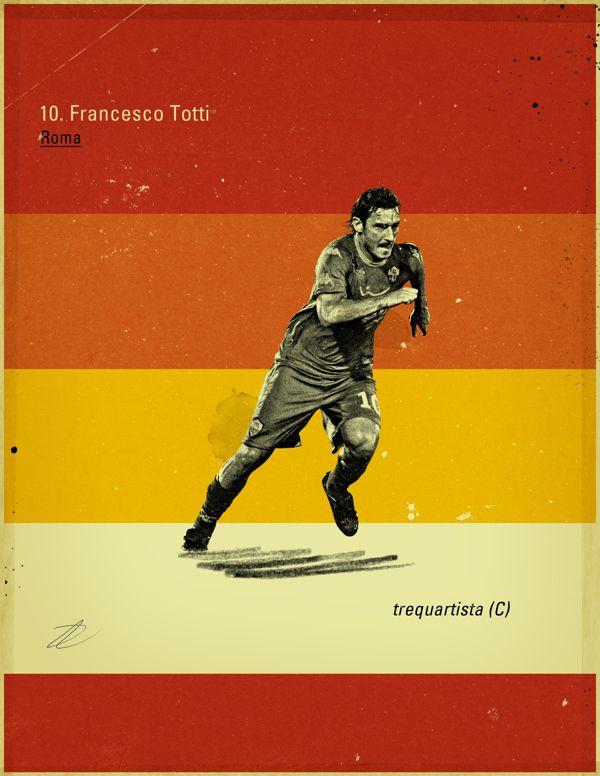 Famous Footballers by Jon Rogers, via Behance #soccer #poster #totti
