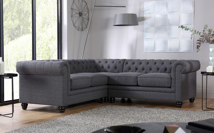Hampton Slate Fabric Chesterfield Corner Sofa