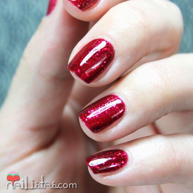 #uñas #rojo #cereza #oscuro #nails #brillos #glitter