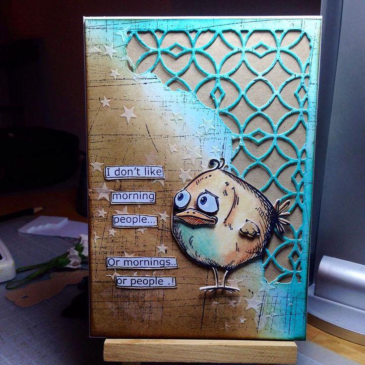 Jeg har leget med mine #crazybirds stempler og dies i aften Teksten er et #dylusions stempel #cardmaking
