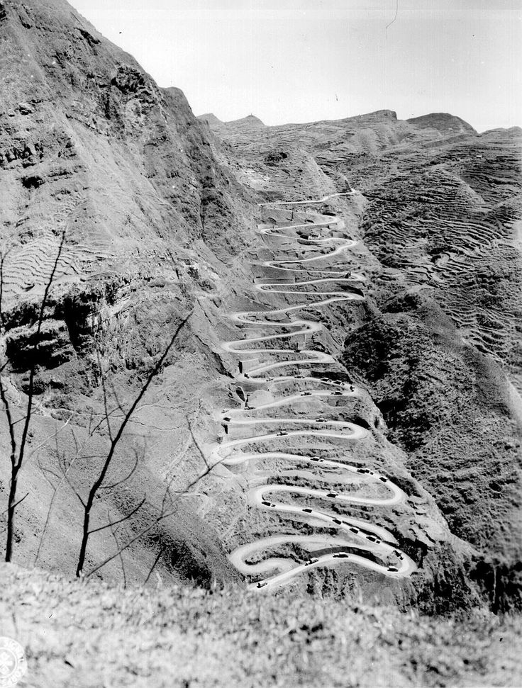 """A stretch of the famous """"Burma Road"""" that was used to supply China from India during WWII. Date unknown."""