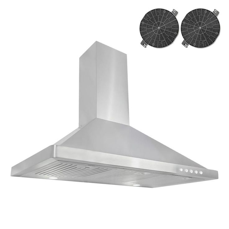 Cosmo 36 in. Ductless Wall Mount Range Hood in Stainless Steel (Silver) with LED Lighting and Recirculating Filter Kit