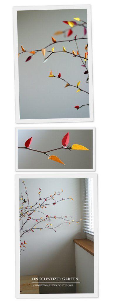 """Twigs with paper leafs form """"Ein Schweizer Garten"""" / Zweigen mit Papierblätter von """"Ein Schweizer Garten"""" / gedroogde taken met papieren blaadjes"""
