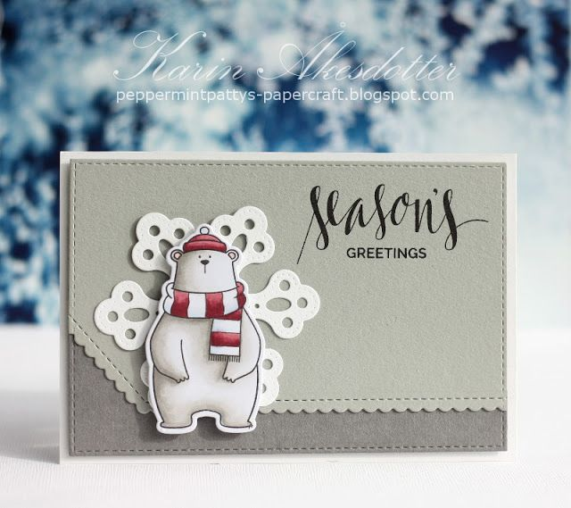 Peppermint Patty's Papercraft: Season's greeting - B/W with pop of color