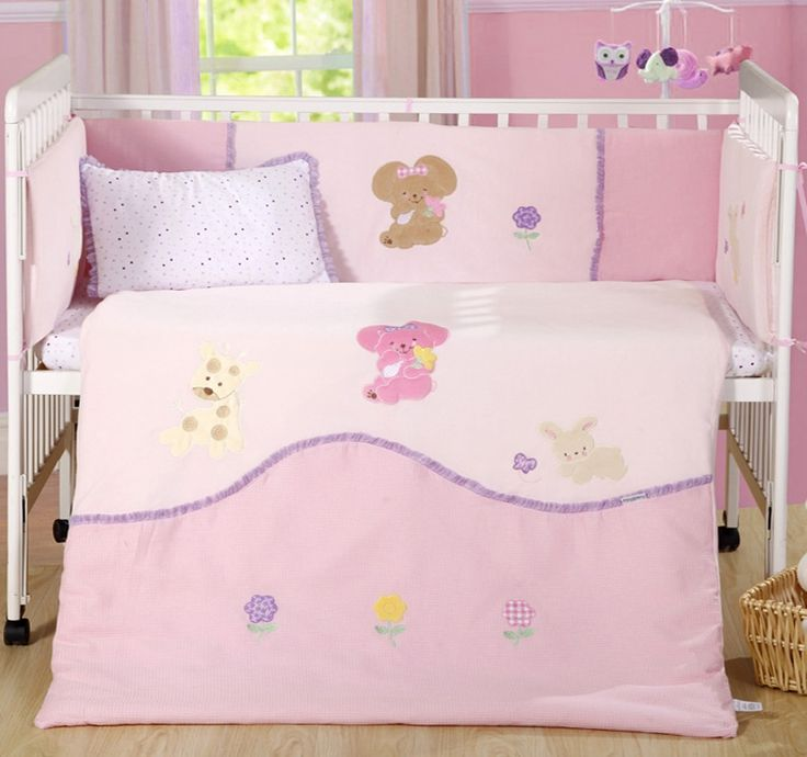 105.99$  Buy here - http://alit9c.worldwells.pw/go.php?t=32552125960 - 7 pc Baby bedroom nursery bedding set cotton velvet 3D embroidery  newborn baby girl cot bedding summer fleece blanket