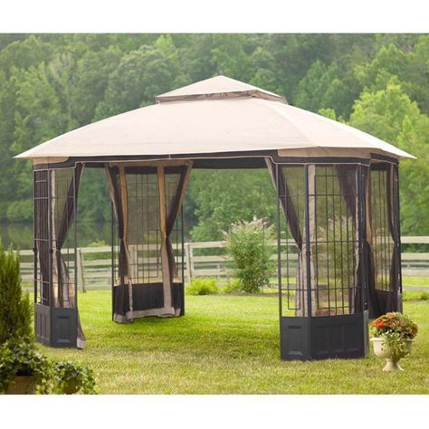 Exterior: Best Better Homes And Gardens Portable Patio Gazebo Replacement Canopy Outdoor Patio Canopy Gazebo Top Replacement Pitched Roof Line Portable Patio Gazebo Living Accent from The Large Size 10x10 Gazebo for Every use