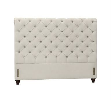 Chesterfield Upholstered Headboard, Cal. King, Performance Everydaysuede(TM) Stone