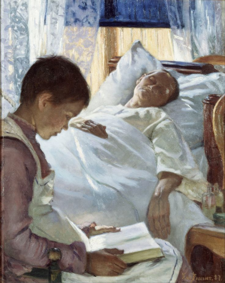 """Reflection in Blue (1887).Eva Bonnier (Swedish, 1857-1909). Oil on canvas.Nationalmuseum, Stockholm. Eva Bonnier's depictions of terminal illness give a pared-down everyday perspective, with the artist challenging the stereotypical female bourgeois ideal of the time. Women are presented as """"subjects"""" with strong integrity and not as fragile objects. In Reflection in Blue, the figures are painted from a realistic perspective, placing us in the same room as the ailing person."""