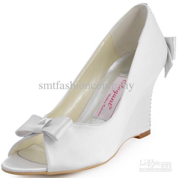 2015 Women White EP41020 Peep Toe Bow Rhinestone Satin Wedges Wedding Bridal Shoes