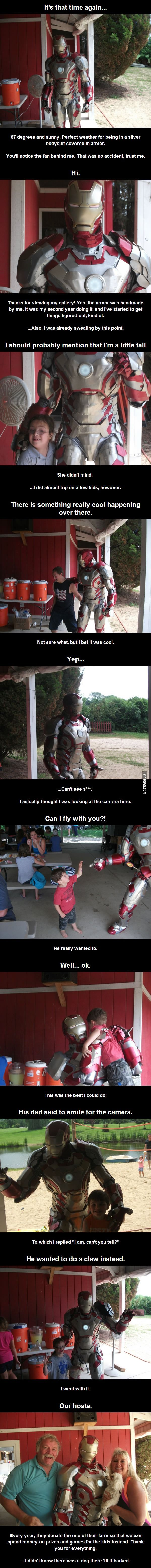 Cosplay for Charity: Good guy Iron Man at an event for disabled children and those with Downs Syndrome.