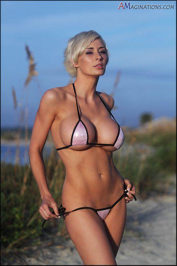 531c0dd0f4 Bitsy s Bikinis Sparkly Pink Scrunch Bikini 3 Piece Brazilian Bottom  Triangle Top Micro G-String Tho