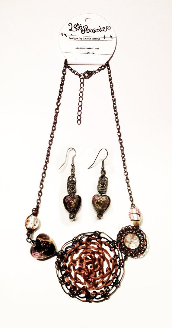 Black Copper Telephone Wire Statement Necklace Set Available Now In My Etsy Shop Https Www Etsy Com Shop Lalipourie Unique Jewelry Necklace Set Items