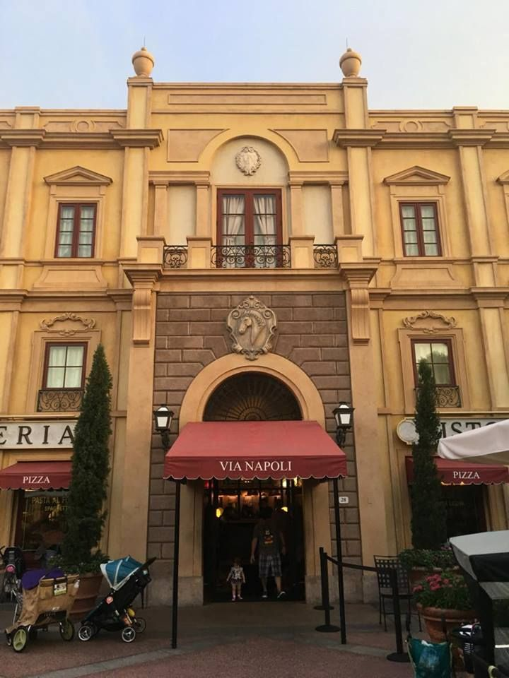 Missy Ryan March 14, 2017  Via Napoli is located in the Italy Pavilion of Epcot's World Showcase at Walt Disney World. I like to say it is Disney's best
