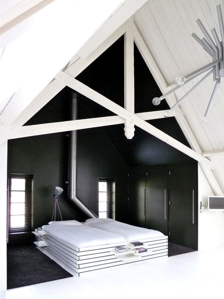 Amazing Dark Bedroom, White Wooden Bed, Unique Loft Conversion In The Netherlands Design Inspirations