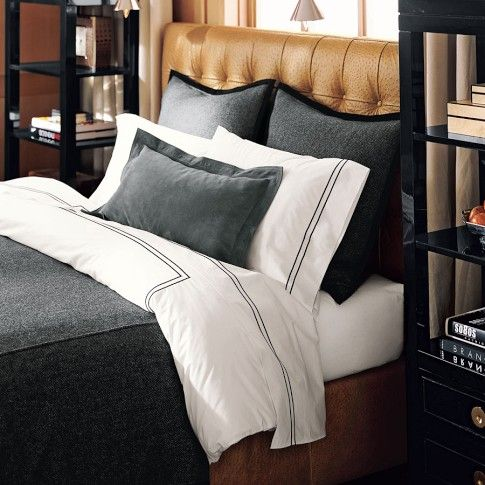 Nice masculine bedding set, while still looking crisp. Like the idea of bookshelves on the side of the bed.