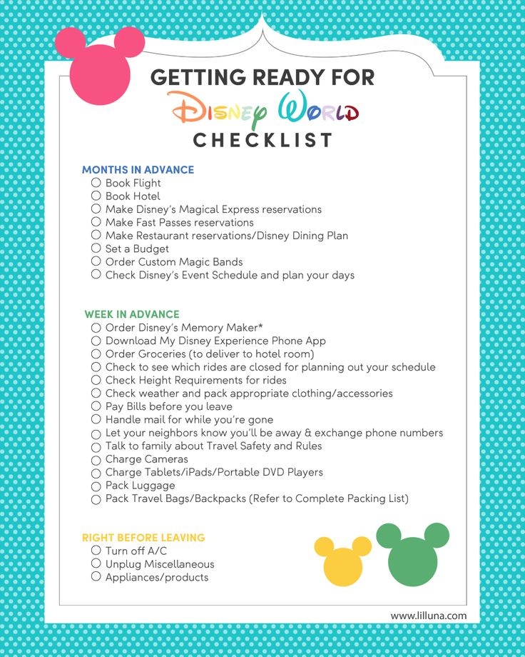 Going To Disney World Check Out This Great Checklist Help You Get Ready