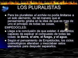 Explicación de los filósofos presocráticos pluralistas.
