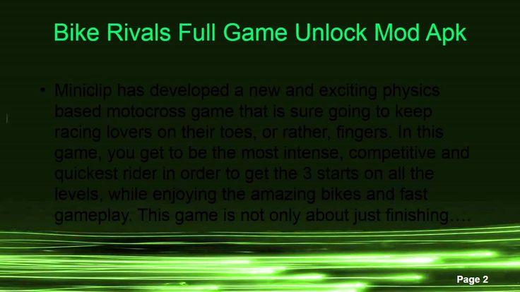 Bike Rivals Full Game Unlock Mod Apk  http://www.androidfreeapplications.com/2015/07/bike-rivals-full-game-unlock-mod-apk.html  www.androidfreeapplications.com