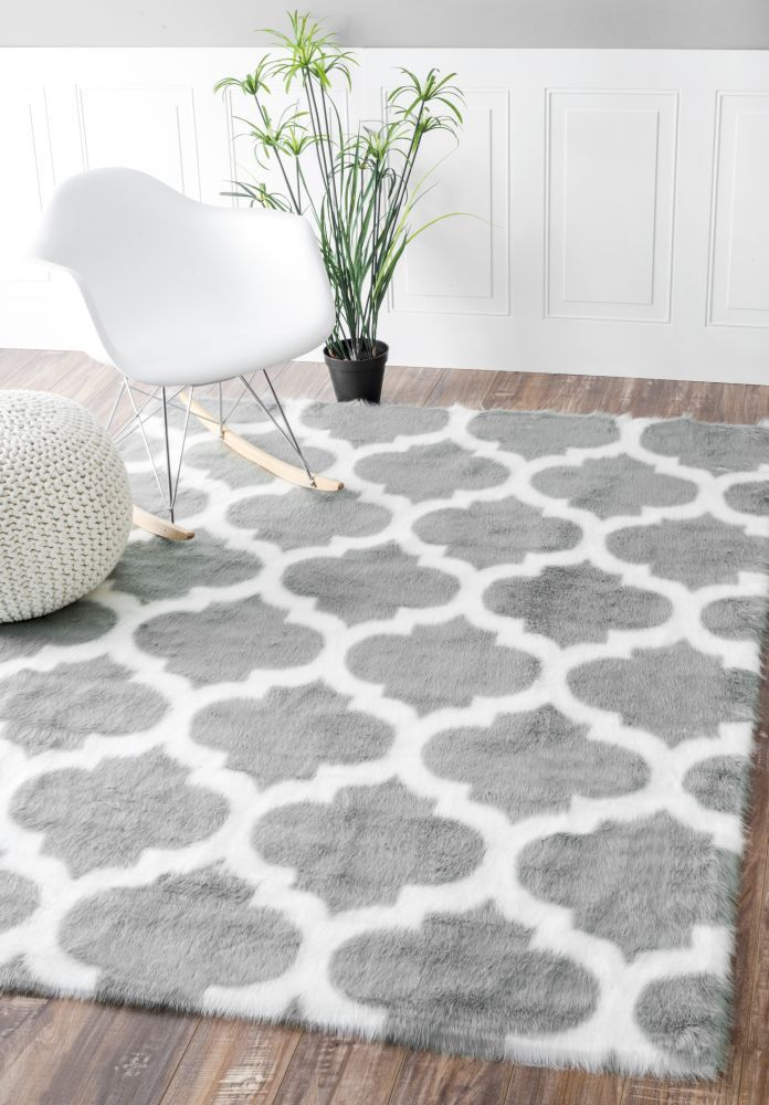 $5 Off when you share! Serenity Faux Sheepskin Trellis Grey Rug #RugsUSA