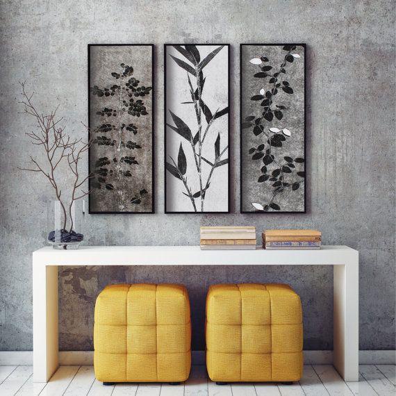 conjunto de 3, grabados botánicos, decoración zen, estilo minimalista moderno