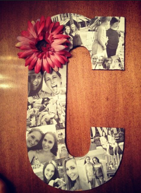 Made this for my best friend's birthday. Just needed to print those pictures on paper and mod podge them on a wooden letter. Added a flower for color :) #diy #gift
