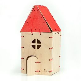 The wooden house consists of 9 elements. By combining different walls together with a string, the child develops eye-hand coordination and imagination. In addition, after setting up the house the child can decorate the walls eg paint them with poster paints. Made by Neo-Spiro.