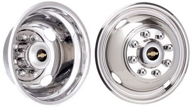 """2001 - 2014 Chevy Chevrolet GM Licensed Chrome Plated Wheel Simulators / Wheel Liners 16"""" Stainless Steel Bolted On  #Hubcaps #WheelCovers"""