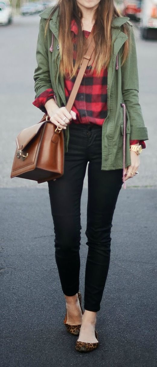 Green Utility Jacket + Plaid Button-Up