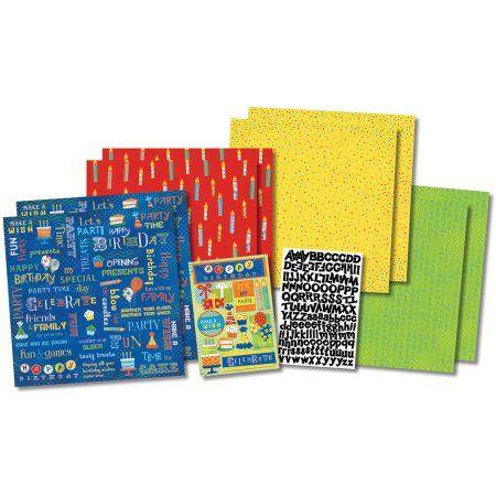 Karen Foster Party Time Birthday Scrapbook Kit, Multicolor