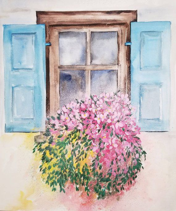 Sale Watercolor Window Box Painting Spring Flowers Home Etsy