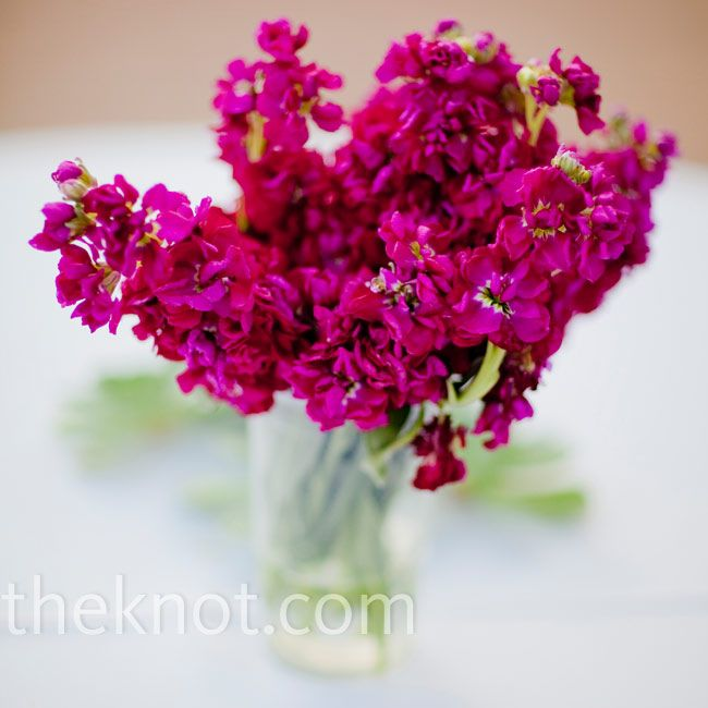 Single bloom in an elegant vase is so lovely! Roses, hydrangeas, Stock flower and more!....various vases to choose from...$25/table.