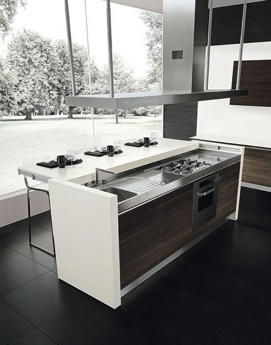 Contemporary kitchen / island / wood veneer - SLIDING - Gatto Cucine - disponibile nel color n ego e bordeaux