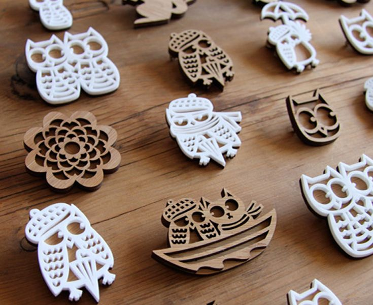 Tiger & Hare – Range of laser cut brooches in bamboo and acrylic • Available at thebigdesignmarket.com