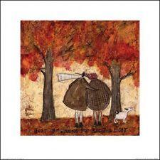 sam toft couple dog admiring autumn trees poster art print 16x16in