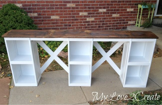 A desk from cabinet doors.  I think I finally found a solution for the girls' room!