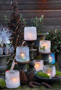 You just need 2 different sized buckets, water, candels and cold weather (or a large freezer)... and this beautiful lights are done ;-)