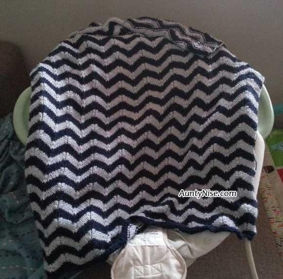 Knitted Chevron Baby or Lap Blanket   Pattern Available   AuntyNise.com