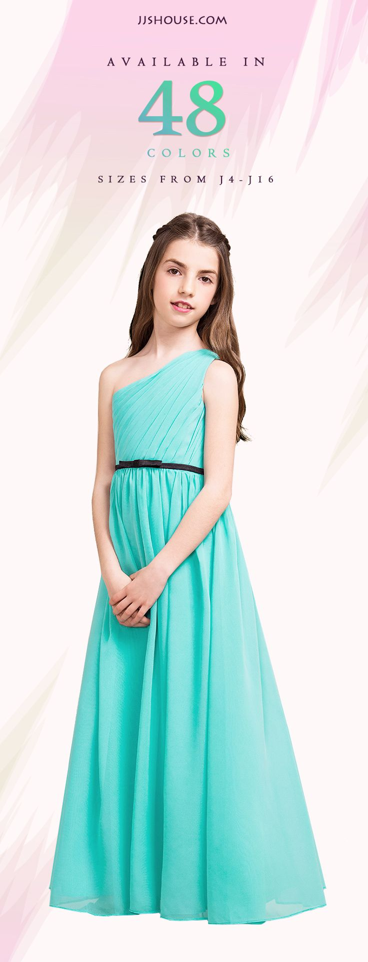 288 best images about teens on pinterest tulle dress shops and kpop a lineprincess one shoulder floor length chiffon junior bridesmaid dress with ruffle bows 009081136 ombrellifo Choice Image