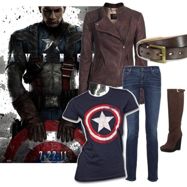"""""""Captain America"""" WANT THIS! When I go see Captain America: The Winter Soldier I'm wearing my Captain shirt, jeans, boots, and GETTING a leather jacket!"""