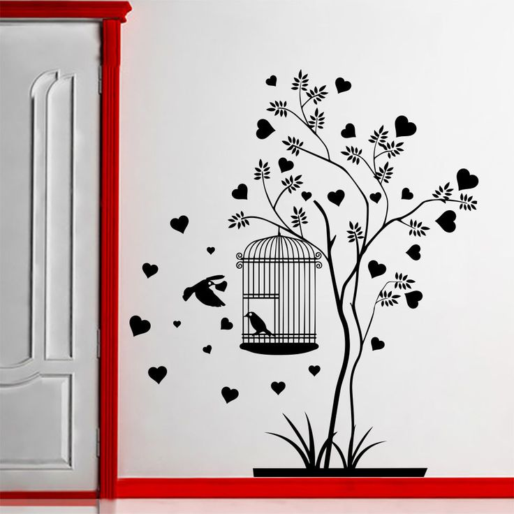 wall decal family tree branch bird heart nursery room hall on wall stickers for hall id=97149