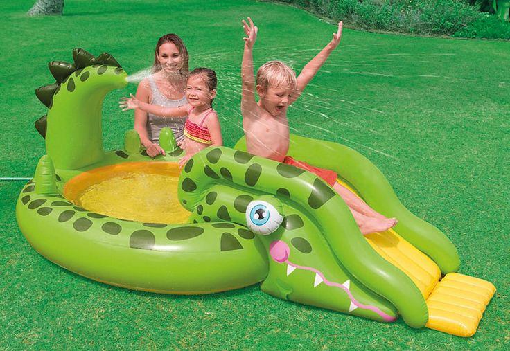 Aufblasbarer Kinder Pool mit Rutsche und Wassersprüher, »Alligator«, Intex