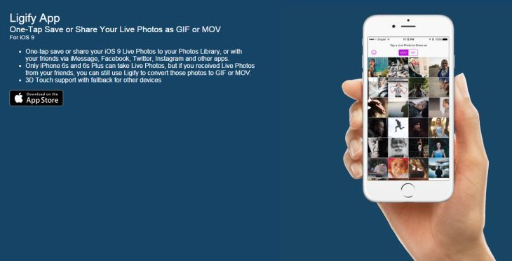 Lee Ligify, para convertir las Live Photos a archivos GIF y MOV