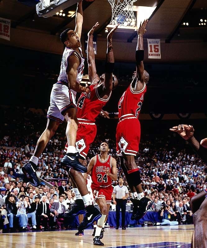 A lot of people seemed to hate on him but I always liked John Starks of the New York Knicks back in the day. He played with energy and passion and you got to respect that.  Plus Jordan might have put it on him sometimes but he never backed down. He even got payback sometimes....The Dunk