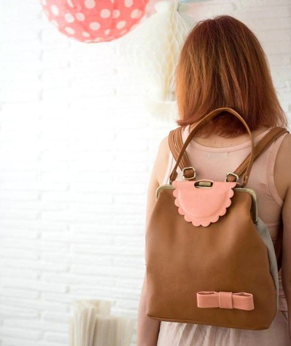 Vintage style bow backpack