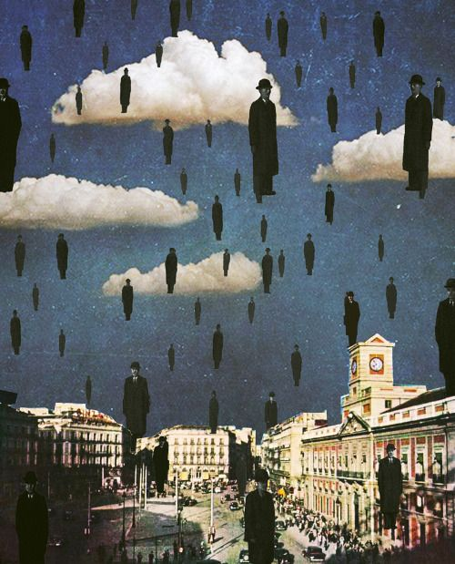 The Travelers.  Dedicated to the artist René Magritte  Surreal Mixed Media Collage Art By Ayham Jabr.