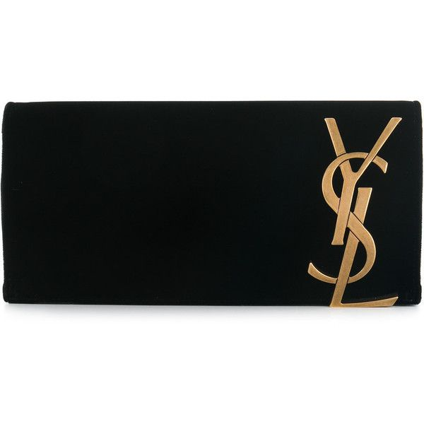 Saint Laurent Smoking monogram clutch (€1.100) ❤ liked on Polyvore featuring bags, handbags, clutches, black, velvet handbag, monogrammed clutches, velvet clutches, monogram pochette and yves saint laurent purse
